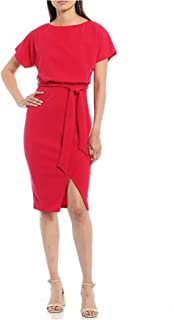 KENSIE Womens Red Slitted Short Sleeve Boat Neck Knee Length Blouson Wear To Work Dress Juniors AU Size:4