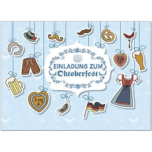 15 Einladungen zum Oktoberfest 2020 / Format DIN A6, 2-seitig/Oktoberfest Grafische Elemente/Einladungs-Karten zum Oktober-Fest mit Umschlägen/Garten Party