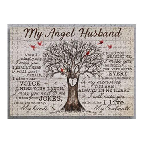 VinMea Rompecabezas de 1000 piezas de My Angel Husband I Miss Your Jokes I Miss You Holding rompecabezas para niños, adultos, decoración del hogar, juguetes divertidos, regalos de cumpleaños