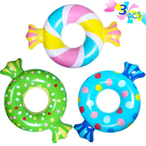 Parentswell Inflatable Pool Floats Candy Floaties Swim Rings Tubes, 3 Pack Beach Floatie Summer Fun Party Decoration Pool Lounge Toys for Kids