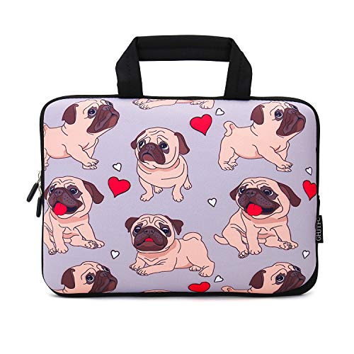 12 Inch Laptop Sleeve Carrying Bag Protective Case Neoprene Sleeve Tote Tablet Cover Notebook Briefcase Bag with Handle for Women Men(Pug,12')