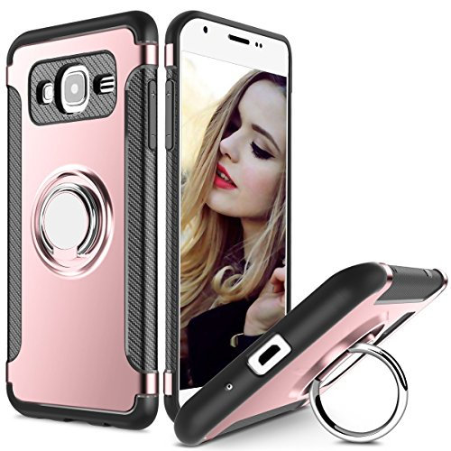 MaiJin Custodia per Samsung Galaxy Grand Prime/Galaxy J2 Prime (5 Pollici) Slim Fit Cover con 360 Gradi Rotazionecon in Metallo Porta Cellulare Anello Grip Stand (Oro Rosa)