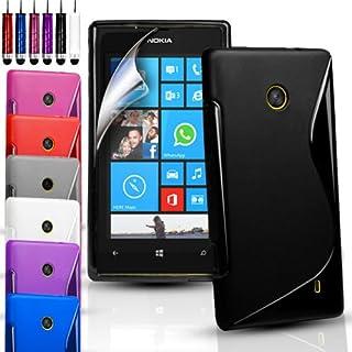 Phone Protection - S-Line Wave Gel Case skydd för olika telefoner och gratis skärmskydd - rött - Nokia Lumia 520/525