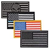 4 Pieces Tactical USA Flag Patches, Tactical Tags Morale National Emblem Patch for Travel Backpack Hats Jackets Team Uniform