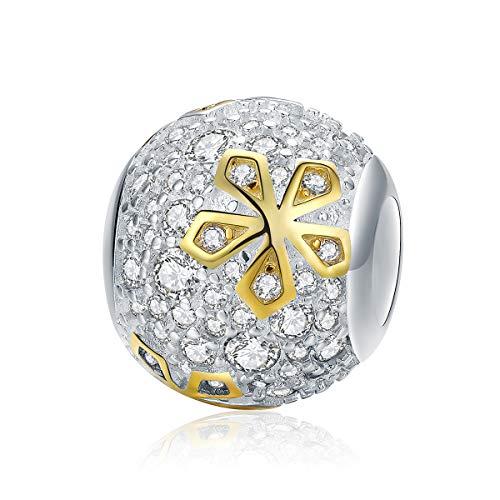 Dxlts Schneeflocke Charm Armband 925 Sterling Silber Bead kompatibel European Charms Perlen Geburtstag Weihnachten Valentinstag Thanksgiving Geschenk,7.48in/19cm