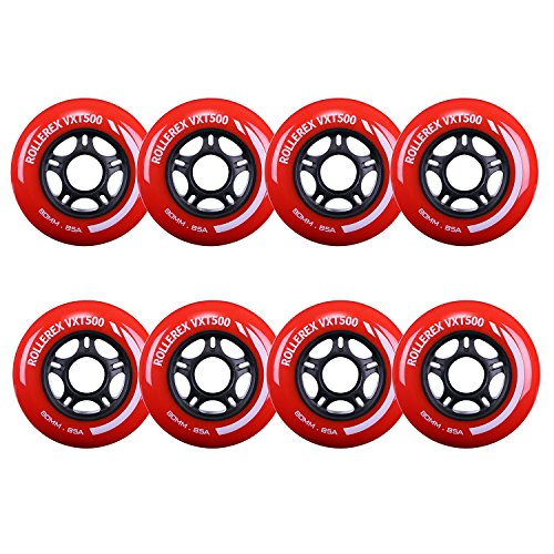 Rollerex VXT500 Inline Skate Wheels (8-Pack) (Rocket Red, 80mm)