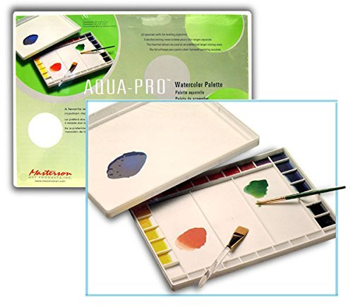 Aqua Pro Masterson's Paint Palette for Acrylics and Watercolors is A Large Size That Has 32 Wells and 3 Mixing Areas (Pkg/2)