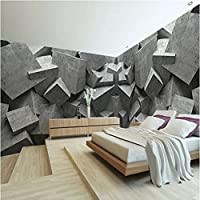 Iusasdz パーソナリティ デザイン 壁画壁紙 3D ステレオ ジオメトリ セメント フレスコ画 オフィス ギャラリー カフェ ダイニング ルーム モダン アート インテリア 壁紙-200X140Cm
