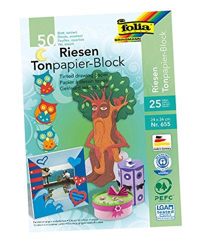 folia 655 - Tonpapierblock, ca. 24 x 34 cm, 50 Blatt, farbig sortiert - die ideale Grundlage für vielfältige Bastelideen