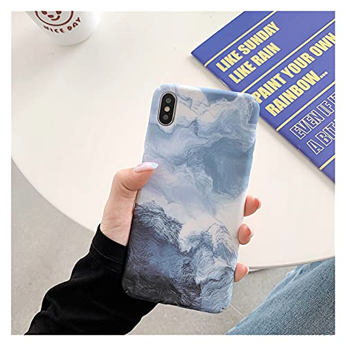 ZWQASPara iPhone 11 Funda de Onda de gradiente para iPhone 12 Pro MAX XR XR XS MAX X 6 6S 7 8 Plus SE 2020 Art Blue Line Cover (Color : A, Size : For iPhone XS MAX)