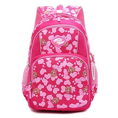 Mochila escolar infantil para niñas en edad adolescente, mochila escolar primaria, mochila de princesa, mochila ortopédica escolar., Rosa rojo. (Rojo) - RS190812