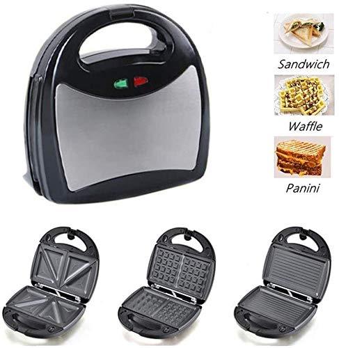 LIANYANG 3 in 1 Sandwich Toaster,Muffin Maker,Panini Maker,Toast Maker mit abnehmbaren Antihaft Platten,Cool Touch Griff,spülmaschinenfest,Edelstahl