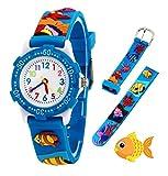 Relojes analógicos para niños Impermeables, Reloj de Pulsera para niños con Correa de Silicona 3D de Dibujos Animados, Juguete para niños pequeños Regalo de cumpleaños/Navidad (Blue Fish)