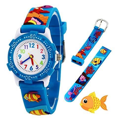 Relojes analógicos para niños Impermeables, Reloj de Pulsera para niños con Correa de Silicona 3D de Dibujos Animados, Juguete para niños pequeños Regalo de cumpleaños/Navidad
