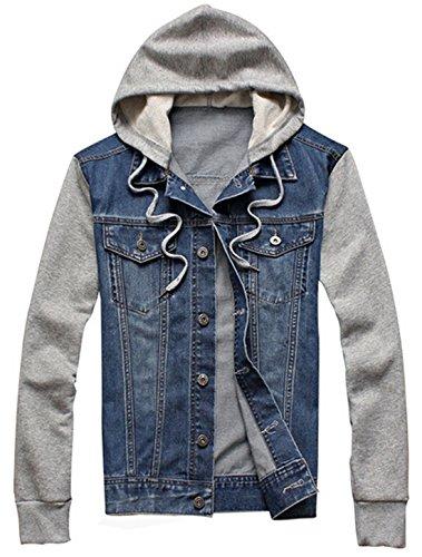 XueYin Men's Denim Hoodie Jacket With Hat Slim Fit Casual Wear(Blue,L size)