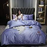 Goodlife-1 Bedding Juego Sábanas de Cama Conjuntos de Tapa de Seda Satinada - Soft Luxury Silky 4 Pieza Cubierta de- Tema DE LA Temporada-púrpura_Traje de 120cm de Cama de 4 Piezas