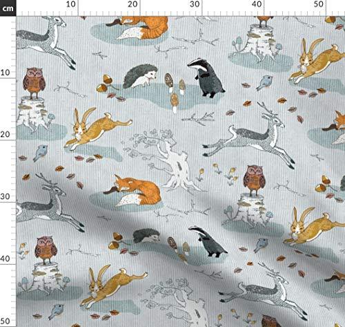 Fuchs, Igel, Dachs, Wald, Kaninchen, Eule Stoffe - Individuell Bedruckt von Spoonflower - Design von Nouveau Bohemian Gedruckt auf Jeansstoff