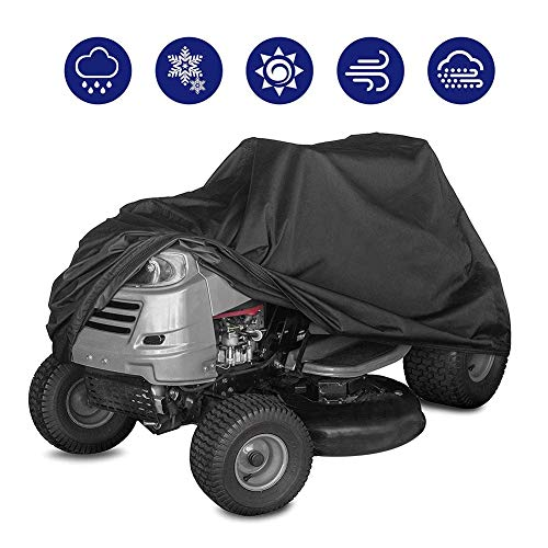 XZPENG Waterproof Lawn Mower Cover, Durable Premium Lawn Tractor Cover with Storage Bag (Black) (Size : 182111116CM)