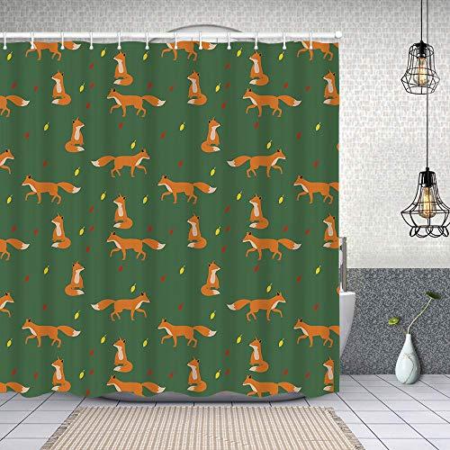 Duschvorhang, Füchse Fallen Polyester Wasserabweisend Shower Curtain Anti-Schimmel Duschgardine, für Badewanne & Bathroom 152 cmx183 cm