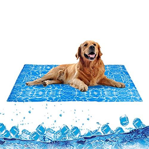 Amzdeal Alfombra de Refrigeración para Animales Autoenfriamiento Refrescante, Alfombra de Gel para Perros Catos Mascotas, No Tóxico, Colchón Impermeable para Verano XL (120x70cm)
