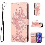 Funda para Samsung Galaxy A42 5G, piel a prueba de golpes, con diseño de tigre y libro de tigre, con ranuras para tarjetas, función atril, vista magnética, a prueba de arañazos, color rosa