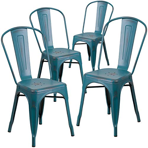 Flash Furniture Commercial Grade 4 Pack Distressed Kelly Blue-Teal Metal Indoor-Outdoor Stackable Chair