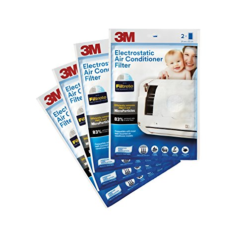 3M Anti Pollution Filter for Converting AC into Air Purifier (White, 4 Packs)