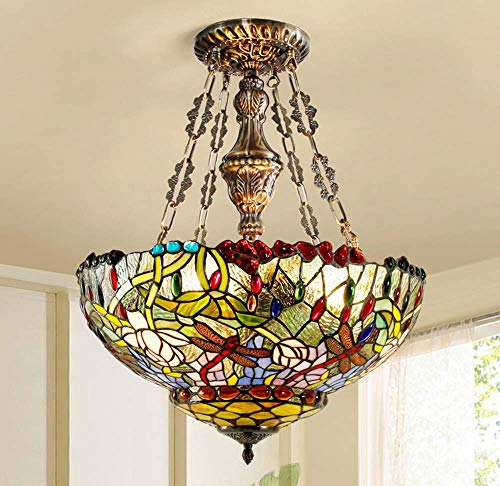DALUXE Tiffany Stil Pendelleuchte, 3 Flammengarten Dragonfly Buntglas Lampenschirm Kronleuchter, Kupfer, halb eingebaut, Leichter Anhänger