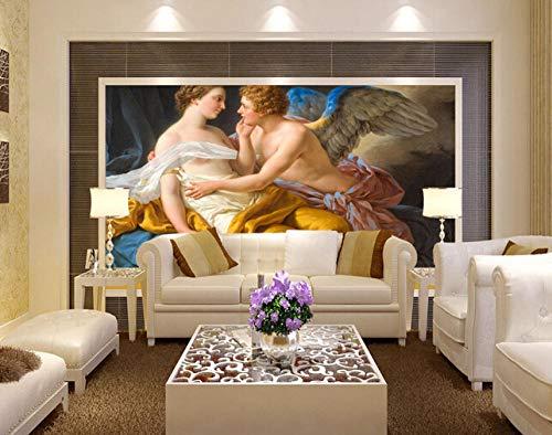 Tapete wohnzimmer schlafzimmer TV hintergrund wand wasserdicht Papel De Parede benutzerdefinierte retro tapete, Salbei und Eros engel malerei 200 Cm * 140 Cm Seidentuch Anpassbare Huzi