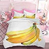 Hiiiman - Juego de funda de edredón (3 piezas, tamaño king y 2 fundas de almohada, diseño de frutas tropicales pintados a mano, diseño de frutas tropicales