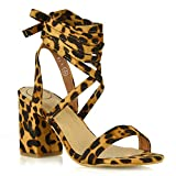 ESSEX GLAM Womens Chunky Block Low Mid Heel Lace Up Strappy Sandal Faux Suede Shoes (5 B(M) US, Leopard Faux Suede)