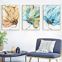 植物花壁アート水彩プリント抽象的なキャンバスポスター現代絵画リビングルーム家の装飾画像60x90cmX3フレームレス