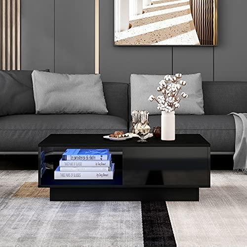 Couchtisch mit LED-Licht moderner Hochglanz-Sofatisch, rechteckiger Wohnzimmertisch Couchtisch Beistelltisch für Teetisch Haushaltsdekoration Schwarz A (99 x 55 x 32 cm)