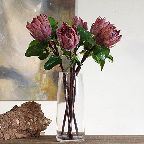 ViKiMiDi Künstliche Blumen aus Seide, Königs-Protea (Protea Cynaroides) Violett, Grün, 2 Stück rot