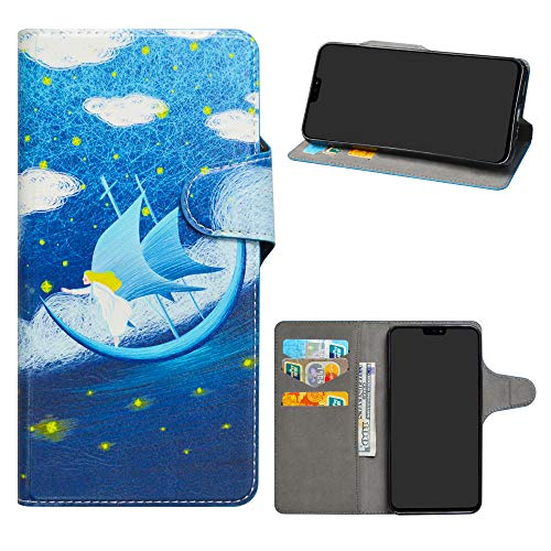 Honor 8X Leder hülle,HHDY Painted Muster Wallet Handyhülle mit Kartenfächer/Standfunktion Hülle Cover für Huawei Honor 8X / Honor View 10 Lite,Dream Voyage
