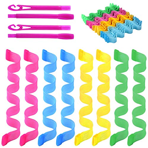 36 Pcs Magic Hair Roller Curlers Heatless Styling Kit with 2 Pcs Hair Hooks for Women Girls (12inchs)