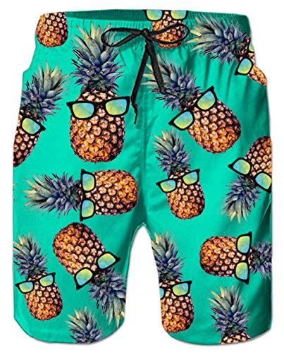 Pineapple Swim Trunks for Men 3D Print Green Orange Ananas Stretchy Waist Long Board Shorts with Drawstring Young Man Tropical Hawaiian Vacation Swimwear Knee Length Fashion Beachwear, Tie Dye L