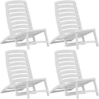 EBTOOLS 4 Piezas Silla Plegable de Playa, Silla Beach para Tomar Sol Ligero de Plástico Blanco para Playa Terraza Patio, 42 x 58 x 64 cm
