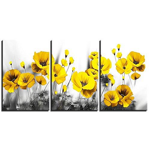 YB canvas HD-prints afbeelding muurkunst gele klaprozen schilderij Home decoratie moderne poster voor woonkamer 50x70cmx3 Geen lijst