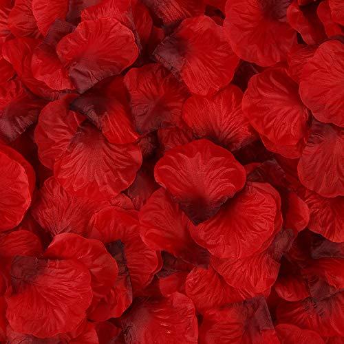 Rosenblätter,1000 Pack Seide Künstliche Rosenblüten Romantische Dekoration für Hochzeit Valentinstag Konfetti Tisch Streuung 5 * 5CM Dunkelrot