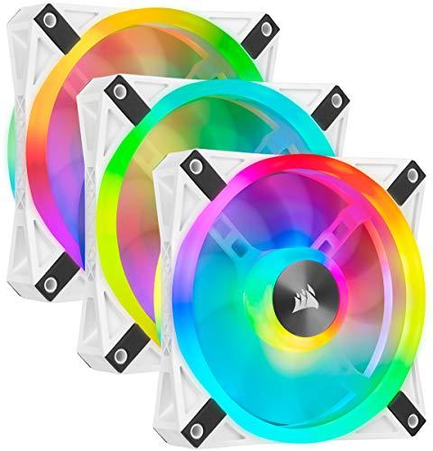 Corsair iCUE QL120 RGB, Ventilateur LED RGB PWM 120 mm (102 LED RGB Paramétrables Individuellement, Allant jusqu'à 1 500 TR/Min, Faible Bruit) Lot de Trois Ventilateurs avec Lighting Node CORE - Blanc