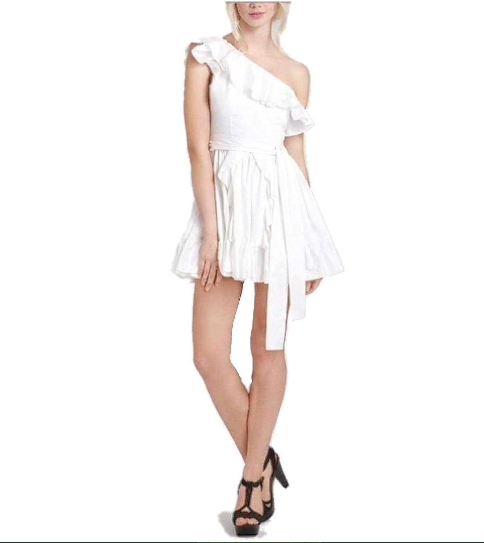 Rachel Zoe Women's Isabelle Full Skirt Ruffle One Shoulder Dress White
