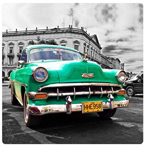 1art1 Oldtimer - Green Car, Cuba Acrylglas-Bild 29 x 29 cm