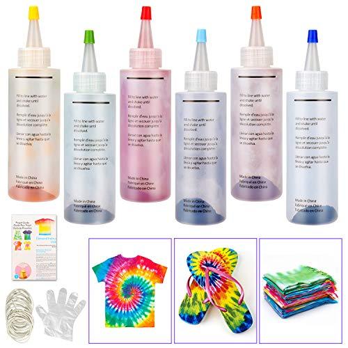 Tie Dye Kit, Sinwind 6 Colores Vibrantes Pinturas Textiles de Tela, con 30 Bandas de Goma, 12 Pcs de Guantes de Plástico, para Tela Pinturas, Actividades del Campus