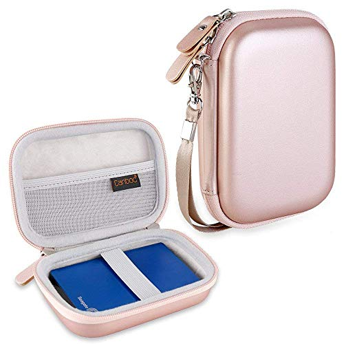 Canboc Hard Carrying Case for WD Elements My Passport/Seagate Expansion Backup Plus Slim Portable External Hard Drive 1TB 2TB 3TB 4TB USB 3.0 Portable HDD Storage Travel Bag, Rose Gold
