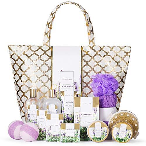 Bad Set Für Frauen, SPA LUXETIQUE 15 tlg. Set Lavendelduft, Geburtstagsgeschenk mit Duschgel, Badebomben, Trockene Haarkappe, Geräumige Handtasche Geschenk für Sie, Bad Geschenke zu Weihnachten