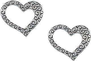 Fourseven 925 Sterling Silver Earrings | Sweetheart Pattern Stud Earrings for Women
