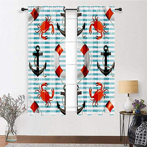 Curtains Life Rings Anchor and Ropes Crabs Coastal 100% Blackout Window Curtain Panels for Bedroom and Sliding Glass Door (2 Pieces, 60 inches Wide Each Panel)