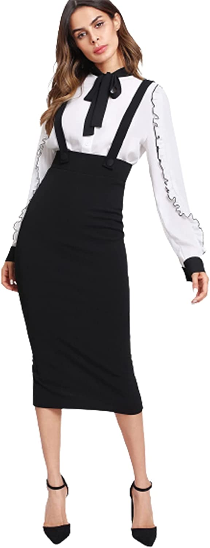 WDIRARA Women's Strap Split Super-cheap Back Skirt Pencil Max 69% OFF Pinafore Suspender