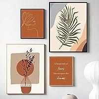 抽象焦げたオレンジ壁アートパネルテラコッタ植物帆布絵画インテリアミニマリスト1つ線デッサン自由奔放に生きるポスターそして版画リビング部屋家北欧装飾